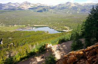 Views of Goose Pasture Tarn and Breckenridge Mountain from Boreas Pass Road on the Penn Gulch Grind mountain bike route.