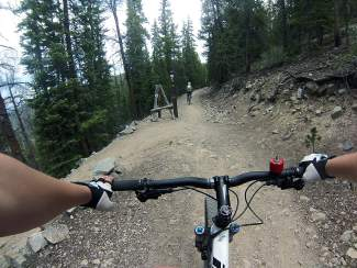 V3 trail in Breckenridge is one of the most advanced in the French Gulch area, with berms, log bridges and brief rock sections.