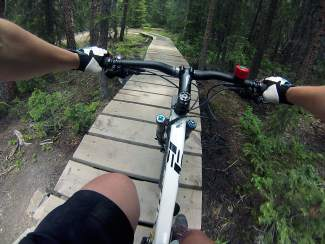 One of several log bridges on the V3 trail in the French Gulch area of Breckenridge.