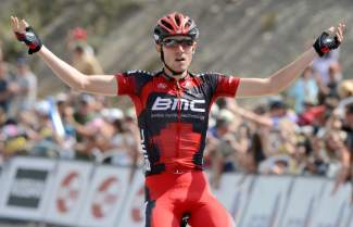 Tejay van Garderen celebrates after claiming the second stage (and the race lead) at the 2012 USA Pro Cycling Challengey. Van Garderen is the most decorated champion in race history, with wins in 2013 and 2014.