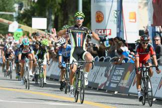 Peter Sagan (#51) of Slovakia crosses the finish line to win Stage 1 of the 2013 USA Pro Challenge in Aspen. Aspen is the only town to host at least one stage for all five years of the race.