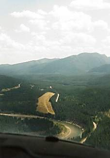 An aerial view of the U.S. Forest Service's Spotted Bear airfield in the Flathead National Forest of Montana. Wiliam Moody and his stepson, Nick Hawkins, traveled the country mountain biking from the back of a Cessna 187 in the late '90s as Moody was earning his pilot's license.