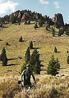 William Moody takes a break while riding the Adams Gulch trail on Griffin Butte outside of Ketchum, Idaho. Moody and his stepson, Nick Hawkins, traveled the country mountain biking from the back of a Cessna 187 in the late '90s as Moody was earning his pilot's license.