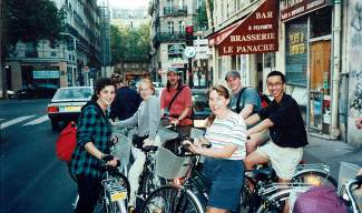 Summit local Amanda Seidler and her fellow leaders during a bike tour in Paris, the night before Lance Armstrong won his first Tour de France in 1999.