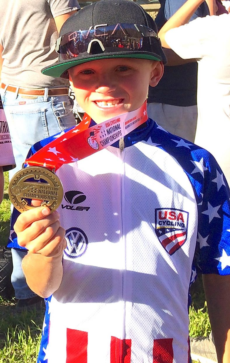 Young Nico Konecny shows off his hardware after taking first in his age division at the 2016 Volkswagen USA Cycling Mountain Bike National Championships. The 10-year-old beat a field of 21 riders from across the country for the title.