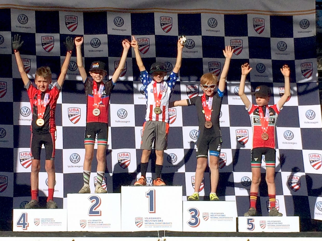 Young Summit mountain biker Nicholas Konecny (aka Nico) on top of the podium after winning the 2016 Volkswagen USA Cycling Mountain Bike National Championships in Mammoth Mountain, California. The 10-year-old is a regular at the Summit Mountain Challenge series and other local races.