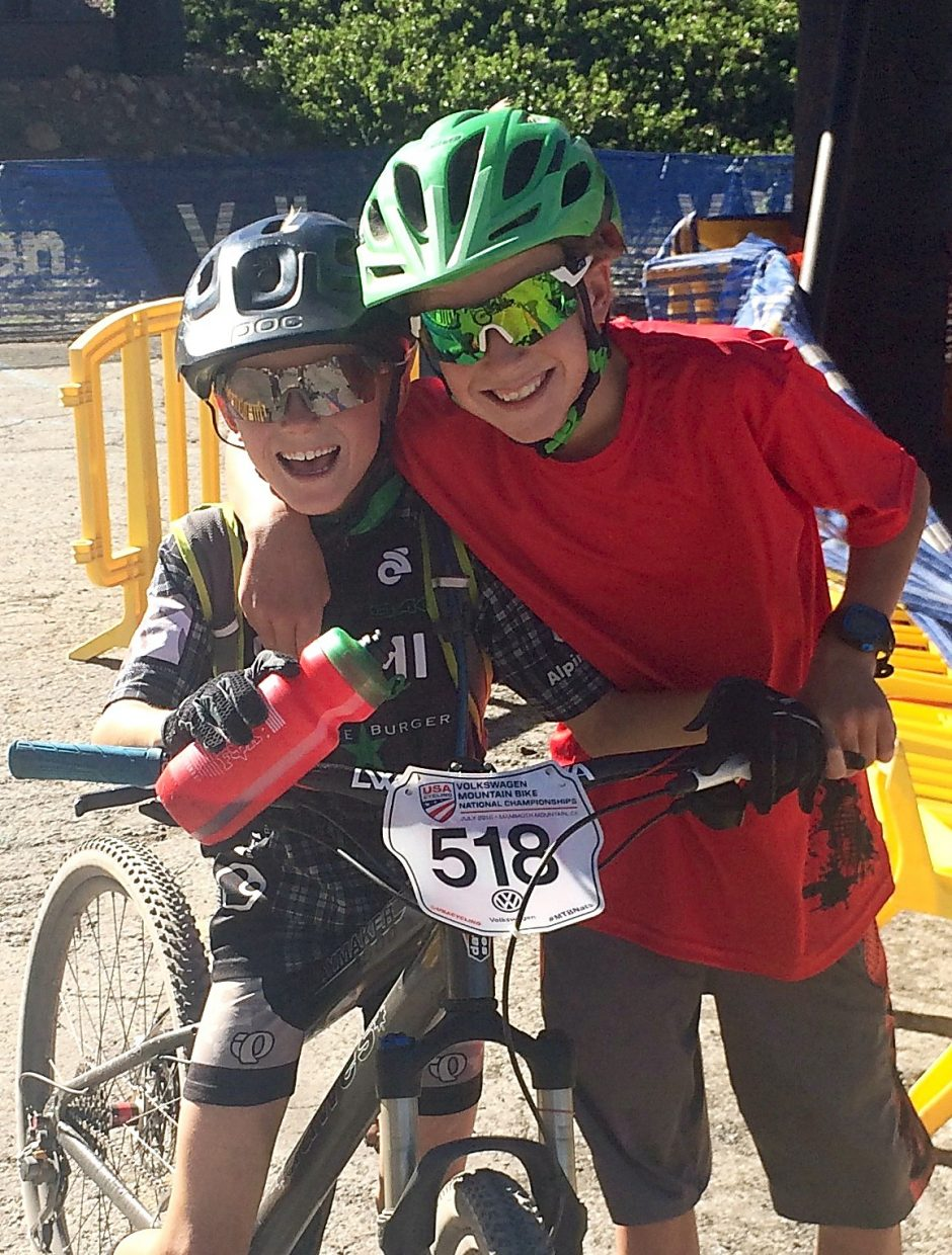 Summit local Nico Konecny (left) with his older brother, Lasse, after a recent mountain bike race. Their parents, Thomas Konecny and Renata Blahova, both competed at the Olympic level in their native Czech Republic before moving to the U.S.