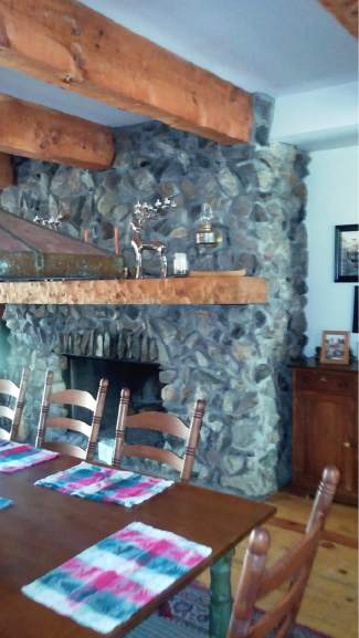 This fireplace was built by Jim and Marcia Little using rocks from the King Solomon Mine.