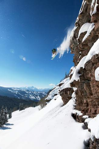 Former Bishop Bindings pro Logan Jauernegg drops a cliff in the Vail area. Jauernegg, an original member of the Bishop pro team, was killed in a kayaking accident earlier this summer.