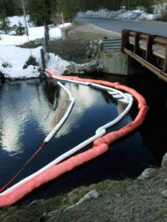 On Tuesday, April 22, Red, White & Blue firefighters responded to a HazMat call on the Blue River in Breckenridge. Firefighters deployed absorbent booms to prevent hydraulic fluid from flowing downstream.