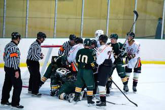 Tensions were high as the Breck Bucks played mountain rival Aspen Leafs on opening weekend. The teams faced each other in the Rocky Mountain Junior Hockey League Final Four, with the Bucks losing in overtime 6-7.