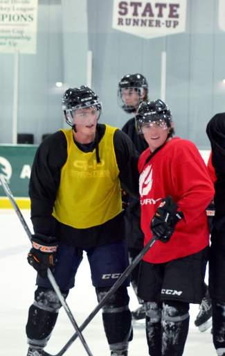 Breckenridge Bucks players Brendan Russ (left) and Austin Oyler (right) were all smiles after a strenuous practice at Stephen C. West Ice Arena on Sept. 30. Oyler, Russ and the rest of the Bucks square off against the Aspen Leafs for opening home series this weekend.