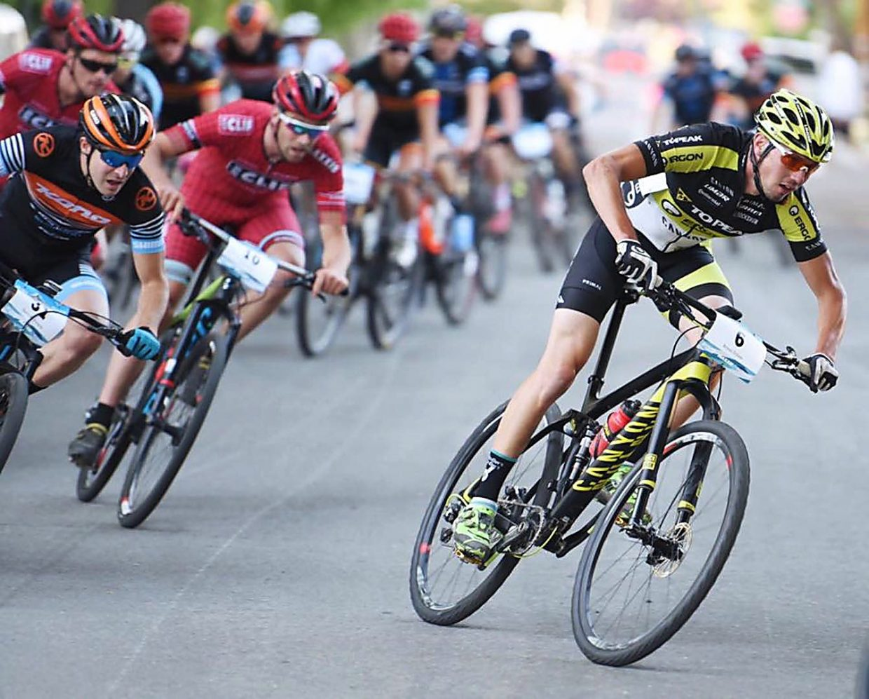 Topeak-Ergon pro Bryan Dillon trades dirt for pavement at a recent race. The 28-year-old native of Jackson, Wyoming is racing in the Leadville 100 on Aug. 13 before heading straight to Breckenridge for the Breck Epic from Aug. 14-19.