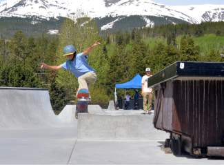 Young Blaze Ebbinghaus grinds a ledge at the Breckenridge skate park. This Saturday, the town of Breck and Colorado Springs nonprofit Sk8-Strong host the first-annual Battle on the Blue, an open skateboarding competition for vert and street skaters with divisions for juniors, men, women and masters.