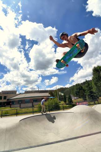 Otto Pflanz of Denver airs to transition at the Battle on the Blue skateboard competition at the Breck skate park on July 23.