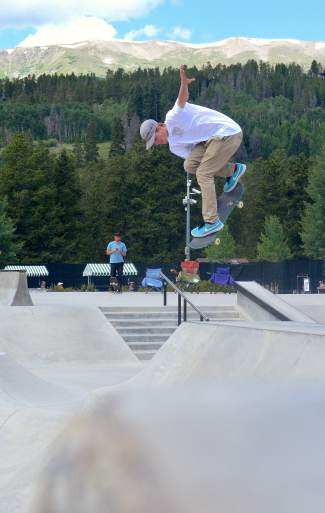 North Carolina pro Clay Kreiner, 19, tweaks it out over the transition during the Battle on the Blue skateboard contest at the Breck skate park on July 23.