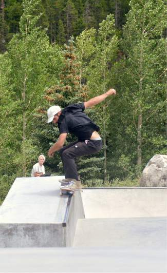 Breckenridge local Grayson Clifford with a 50-50 on the ledge during the Battle on the Blue skateboard contest at the Breck skate park on July 23.