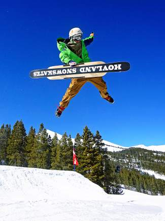 Clayton Conway with a Christ air on a snowskate in the Park Lane jump line at Breckenridge. The Fairplay resident has been a snowskater for about a decade and this season debuted a pro model with manufacturer Hovland Snowskates.