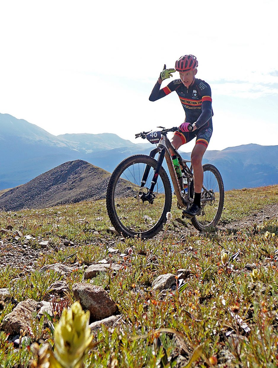 Racer Kyle Trudeau feels the effects of the climb up to Wheeler Pass during Stage 5 of the Breck Epic Thursday, Aug. 18, 2016.