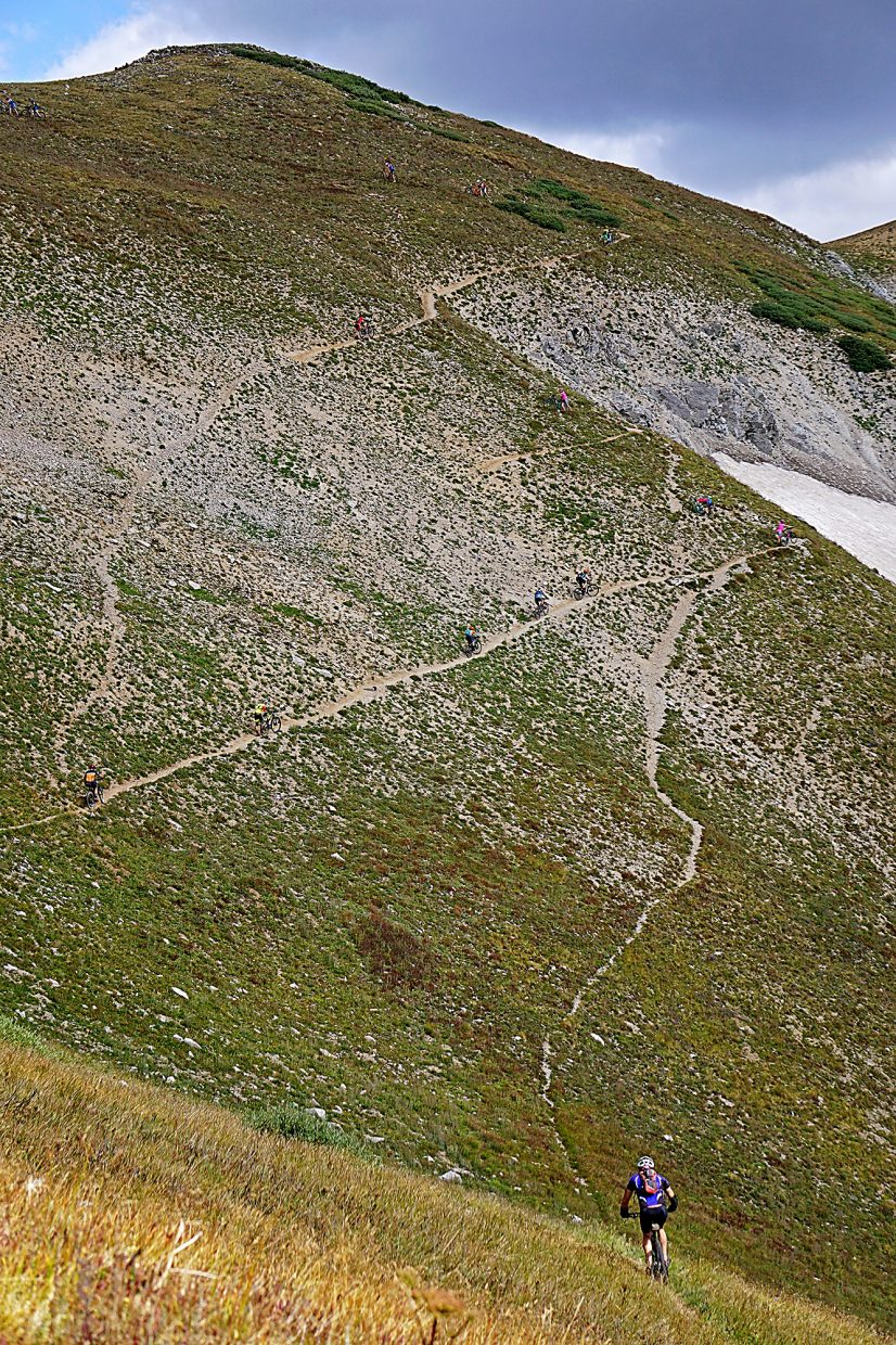 Racers make their way up the steep final switchbacks toward Wheeler Pass during Stage 5 of the Breck Epic Thursday, Aug. 18, 2016.