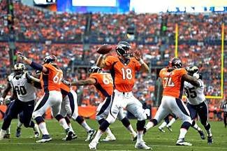 DENVER, CO. - AUGUST 17: Denver Broncos quarterback Peyton Manning (18) drops back to pass during the second quarter against the St. Louis Rams August 24, 2013 at Sports Authority Field at Mile High. (Photo By John Leyba/The Denver Post)
