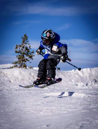 A young skier catches air during a Bubble Gum series race at the Frisco Adventure Park earlier this season. The free series finale comes to the park on March 28 and is open to skiers and snowboarders of all ages.