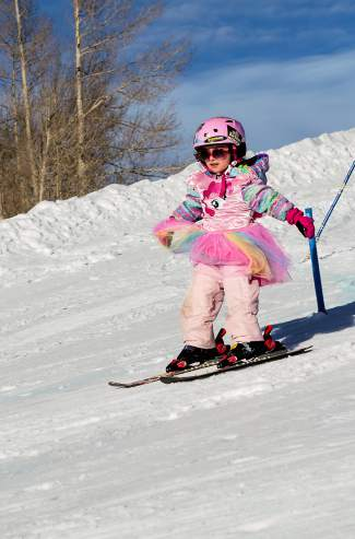A skier whizzes through the course at a Bubble Gum Race Series event at the Frisco Adventure Park earlier this winter. The free series finale comes to the park on March 28 and is open to skiers and snowboarders of all ages.