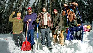Bull of the Woods builders (from left): Moses, Ronnie Barr, Jamal Dhayni, Tom Faber and Z Griff at Carter Park. For most of January, the group has been busy building log rails and a banked slalom course for the third-annual BOTW.