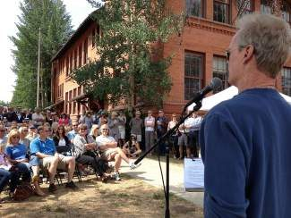 Former Breckenridge Councilman Jeffrey Bergeron addressed in July several dozen community members in front of the old CMC building on Harris Street at a ceremony celebrating the kick off of an $8 million restoration project. Summit County Commissioner Dan Gibbs called the collaborative effort a major win for the community in 2013.