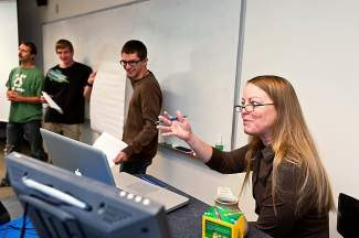 Tina Evans, associate professor of sustainability studies at Colorado Mountain College, lectures at a sustainability class last year.