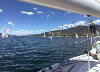 The view from a sailboat deck on Lake Dillon.