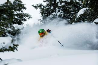 Skier Bruce Ruff finds endless fresh snow at Arapahoe Basin before Christmas Eve.
