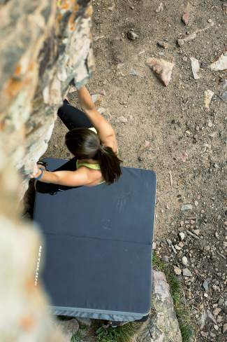 The author warms up on Swan Mountain Wall, a bouldering and top rope wall betwen Breckenridge and Keystone high above Lake Dillon.