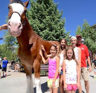 Macy, Madelynn, Maggie, Mallory and Hannah Wehr, a family from Texas and Oklahoma, take time out to pet Manson, a Budweiser Clydesdale, in town for Breckenridge's July 4th parade.