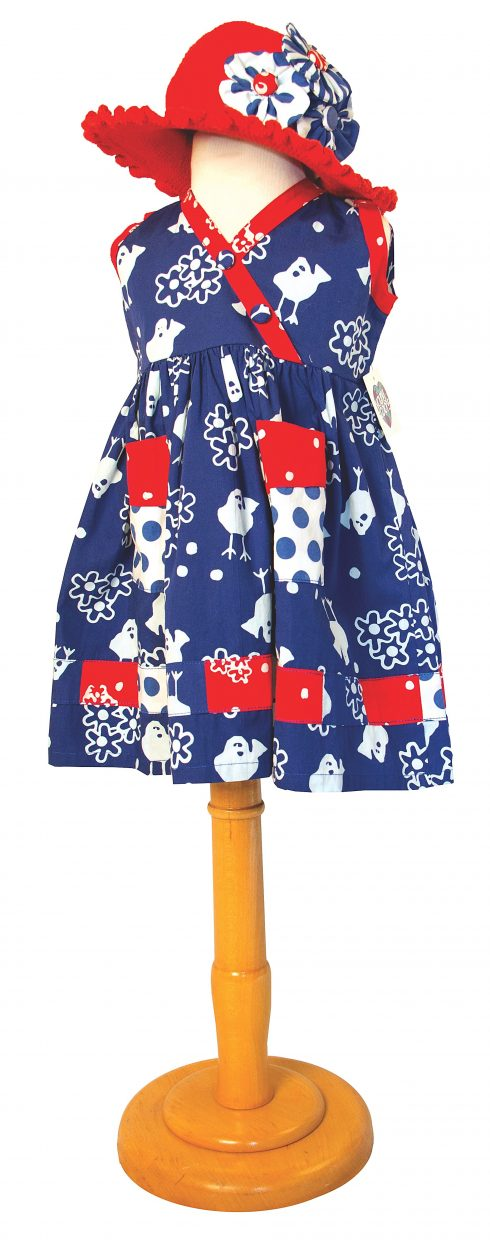 Featured: Colorado blue bird batik sundress with hand crocheted ruffle brim hat adorned with matching fabric hair clips