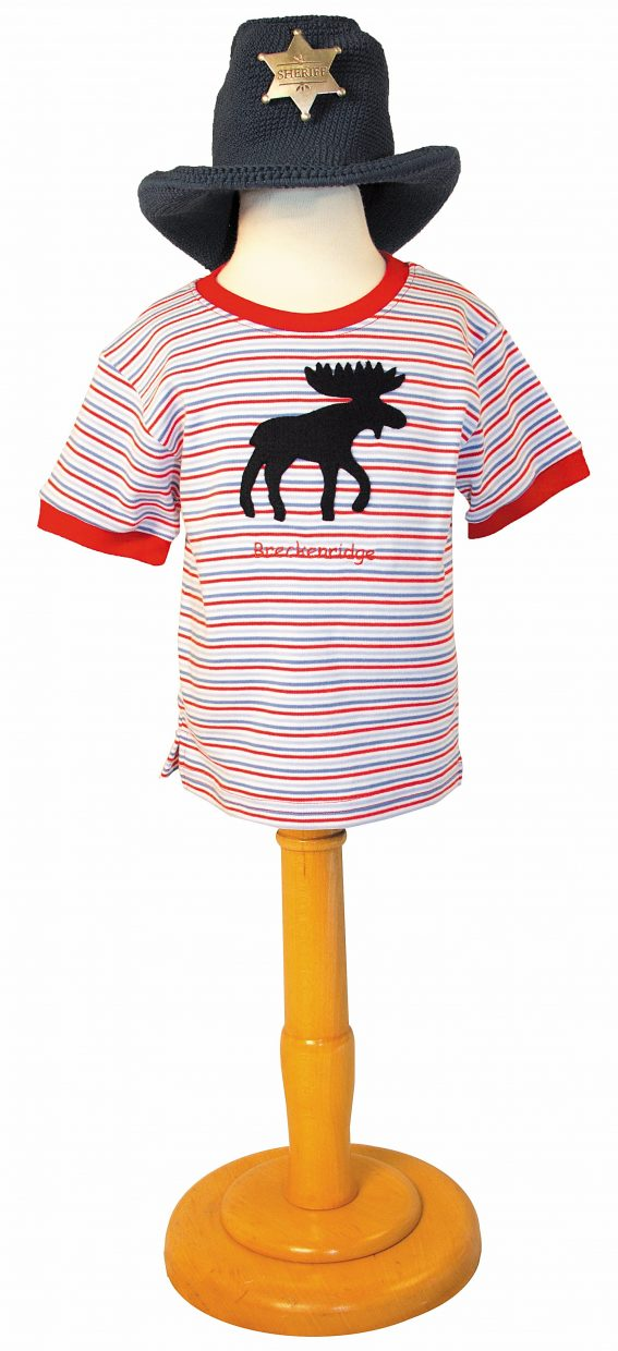 Featured: Blue/red stripe hand appliquéed Breckenridge moose t-shirt with hand crocheted cowboy hat & old west badge
