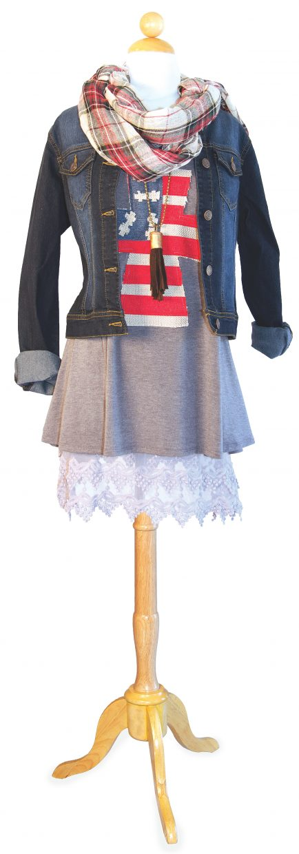 Featured: Artesian, hand-appliquéed flag cross gray tank layered over cream lace slip, topped with dark denim stretch jean jacket, red plaid scarf & deer leather tassel necklace.