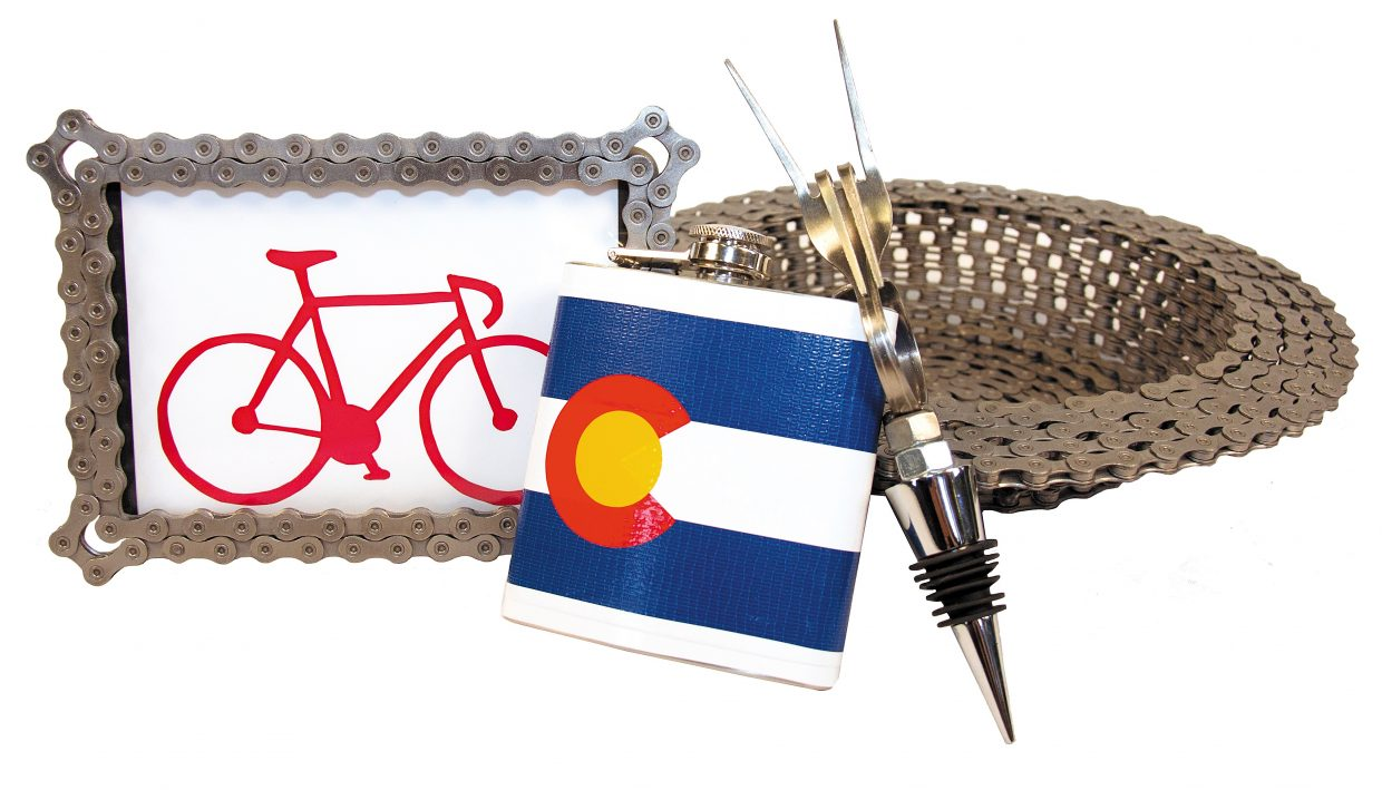 featured: Duct tape flask - JDuct, Fork wine stopper - Forked Up Art, Bicycle chain bowl and frame - Resource Revival.