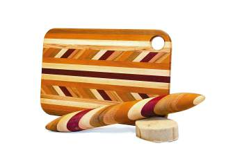 Sample of our available Colorado woodwork. Bread board $85,  Rolling Pin $75
