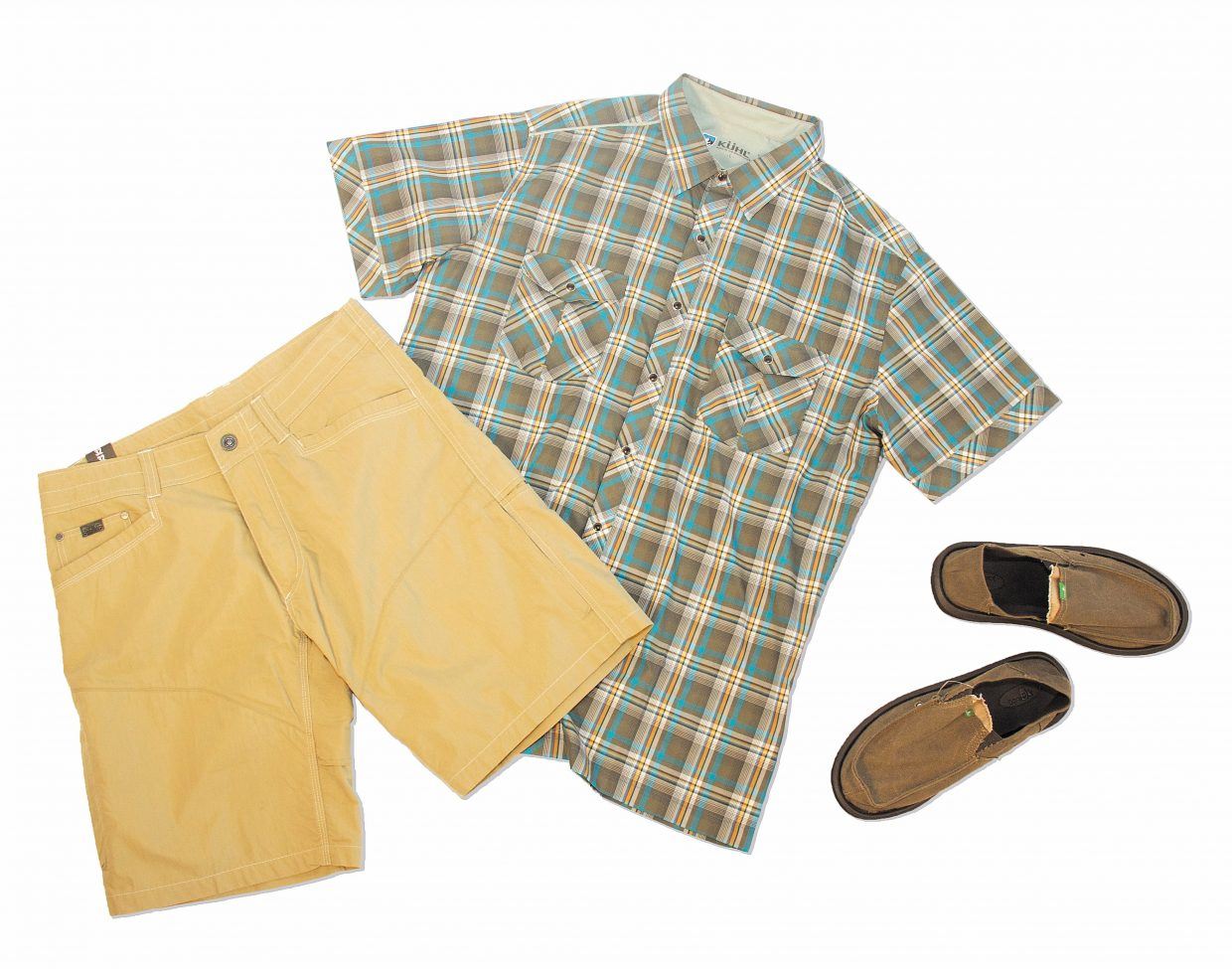 Featured: Kuhl Kontra Air Shorts $70, Kuhl Conquer Shirt $70, Sanuk Pick Pocket Shoes $65
