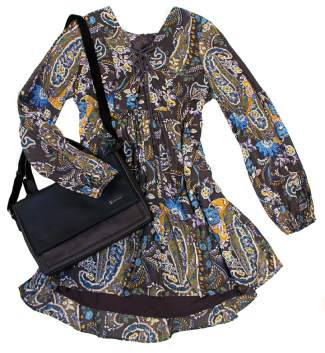FEATURED: Free People Rain or Shine printed dress in Black Comb $128.99, Sherpani Talia purse $90