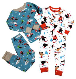 FEATURED: Ski themed P.J.'s by Hatley of Canada. Comfy 100% cotton in sizes infant through size 8. Boy's and Girl's styles available. $31.95 - $39.95