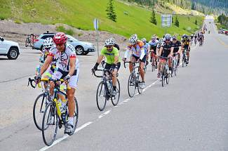 Riders in the Triple Bypass pump to the Eisenhower Tunnel near the bottom of the Loveland Pass leg at the annual 120-mile bike race July 11-12.