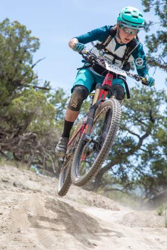 Colorado rider Sarah Rawley catches some air during the GoPro MTN Enduro race in Eagle on Friday. Rawley placed 5th overall in the pro division.