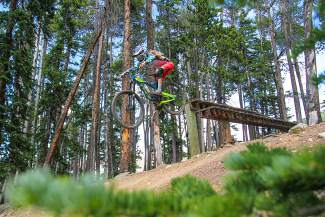 Rachel Throop powers through a drop at Keystone during the Big Mountain Enduro race in 2015. The event returns this summer to the Keystone Bike Park, which opens for the summer season on June 10.