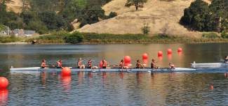 The Barry University eight-person rowing team crosses the finish line ahead of Central Oklahoma to win its second National Championship in two years. Summit local Ellie Hartman (far left in boat) led her team to its second title in her second season as captain.
