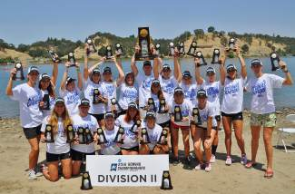 The Barry University women's rowing teams celebrate their second consecutive NCAA Division II championship and 16th overall championship this past weekend in California. Summit's Ellie Hartman led the eight-person team after just three years of towing and two years as captain.