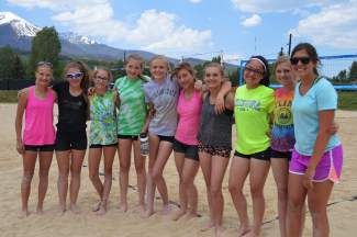 The young doubles teams at the first Princess of the Beach sand volleyball tournament, hosted at the Silverthorne rec center sand courts on June 17. The next tournament is held July 8 and open to girls in two divisions: ages 13-15 and ages 16-18.