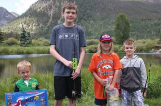 Winners at the annual Fourth of July Fishing Derby in Frisco (from left): Blake Trione of Lakewood (0-5 years), Luke Ide of Minnesota (13-15 years), Mason Lukasiewicz of Dillon (9-12 years), Simeon Baldwin of New Mexico (6-8 years).