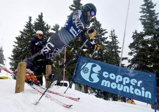 Silverthorne public works veteran Jim Neilsen takes off from the start gate during a Copper Business League race series giant slalom on Feb. 18.
